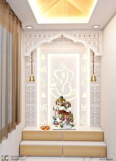 Pooja room design Puja room modern walls & floors by inception design cell modern Pooja Room Door Design, Ceiling Design Living Room, Home Ceiling, Home Room Design, Room Interior Design, Home Interior, Living Room Designs, House Design, Modern Ceiling Design