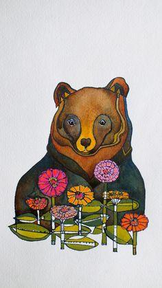 Gallery quality Giclee prints of Jenn Rawling's original paintings. 'Bear & Zinnia'