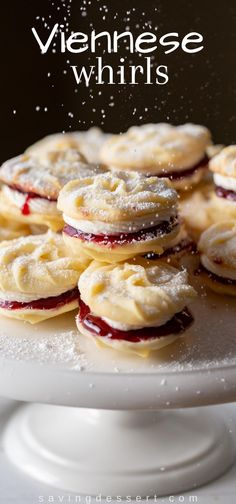 Mary Berry's Viennese Whirls - delicious, tender melt-in-your-mouth butter cookies with raspberry jam and vanilla buttercream filling. #Viennesewhirls #cookies #holidaybaking #raspberryjamcookies #buttercookies #Maryberry #whirls #christmascookies #christmasbaking #baking #cookierecipe #christmascookierecipes Fancy Desserts, Cookie Desserts, Cookie Recipes, Just Desserts, Baking Recipes, Dessert Recipes, Cookie Bars, Galletas Cookies, Xmas Cookies
