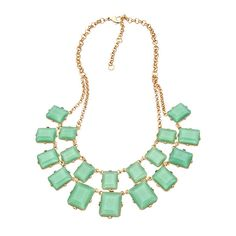 Gold and Mint Rectangle Bib Necklace (72 BRL) ❤ liked on Polyvore featuring jewelry, necklaces, accessories, collares, fashion jewelrynecklaces, mint green bib necklace, mint bib necklace, mint green necklace, gold necklace and gold jewellery