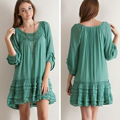 Ruffled Drop Waist Dress - Sage - $39.50