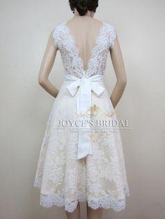 Vintage Tea Length Lace Wedding Dress 20s vintage lace v neck tea