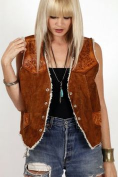 vintage western suede and leather vest from skinny bitch