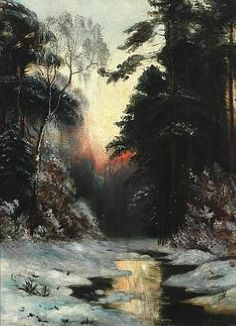 Wintry forestscape by Ivan Fedorovich Choultsé
