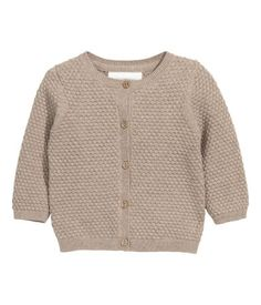 BABY EXCLUSIVE/CONSCIOUS. Soft, textured-knit cardigan in organic cotton with buttons at front and long sleeves.