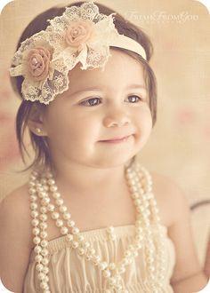 adorable headband for the flower girl - vintage ivory cream lace headband