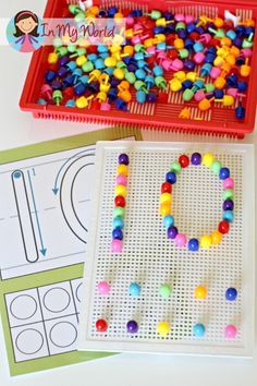 Making the number 10. Place a number template under the mosaic pin board and trace the number.