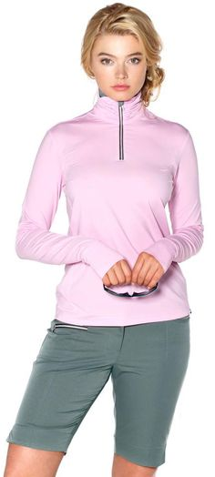 ladies golf outfit in pink and fern golf4her.com