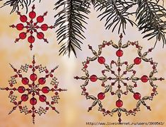 big collection of beaded snowflakes