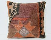 20x20 domesticate kilim pillow orange throw pillow couch striped pillow cover big pillow sham striped cushion cover kilim rug pillow 26229