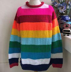 Pop style Hand Knitted Stripey jumper by Bexknitwear Jumper Designs, Pop Fashion, Jumpers, Hand Knitting, Knitwear, Online Price, Men Sweater, Hands, Brand New
