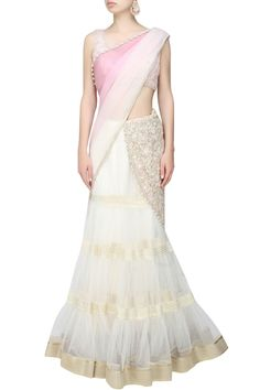 Ivory and pink fully embroidered net tier lehenga saree available only at Pernia's Pop Up Shop.