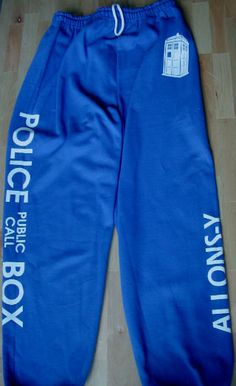 Doctor Who inspired TARDIS police public call box sweatpants on Etsy, $28.00