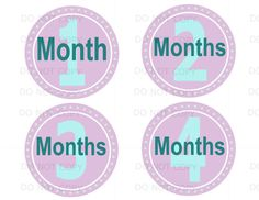 Baby Monthly Onsie Sticker Set for Baby Gift Etsy.com store Baby Piggy Lavendar & green color Instant Downloads on Etsy, $9.00