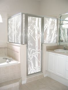 Big Bamboo privacy film shown on a shower enclosure. - July 20 2019 at Frosted Shower Doors, Glass Shower Panels, Frosted Glass Window, Shower Mirror, Mirror Closet Doors, Entry Doors, Bedroom Doors, Privacy Glass, Bathroom Windows