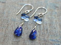 Ombre Sapphire and Lapiz Lazuli Gemstone Sterling Silver Earrings