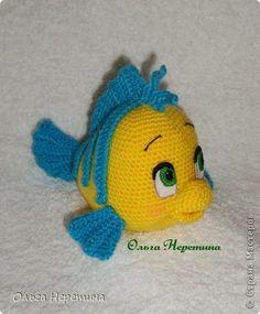 Игрушка Вязание крючком рыбка Флаундер Пряжа