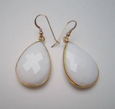 Large Faceted Natural White Onyx Gold Bezel by TurtleCoveDesigns