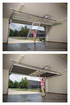 Lifestyle Garage Screen Door contains a retractable roll-up passage door. - Lifestyle Garage Screen Door contains a retractable roll-up passage door. This is not a velcro-in-p - Garage Door Opener, Garage Doors, Barn Doors, Garage Door Track, Roll Up Garage Door, Closet Doors, Sliding Doors, Garage Floor Paint, Garage Epoxy