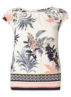 Womens **Billie & Blossom Floral And Stripe Print Border Shell Top- Fl Multi