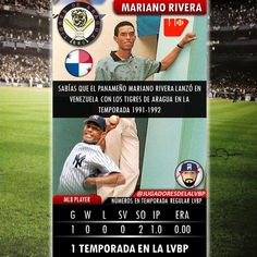 Cuantos sabían que el legendario lanzador Panameño Marino Rivera actuó en la Liga Venezolana de Béisbol Profesional #LVBP  Pocos lo saben pero el panameño tuvo un breve periplo por la pelota venezolana. Mariano perteneció a los Tigres de Aragua en la temporada 91-92 donde solo Lanzó un episodio  Los Tigres contrataron al importado de 22 años que para aquel entonces pertenecía a la sucursal Clase A de los Yankees. Un prospecto panameño que afrontaba su segunda temporada en Estados Unidos  Su…