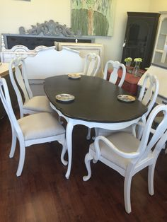 """Here is a Queen Anne table and six chairs that I painted a distressed white with a stained top and burlap upholstered chairs. This would be the first first piece to start the redesign of your dining room and I have some perfect china hutches to match wink emoticon  The dimensions of table are 56"""" L 66"""" with leaf, 41"""" W, 30"""" H. SOLD!! for $500."""