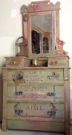 SOLD Antique dresser with mirror Funky Painted Furniture, Decoupage Furniture, Distressed Furniture, Refurbished Furniture, Paint Furniture, Shabby Chic Furniture, Furniture Projects, Furniture Makeover, Vintage Furniture