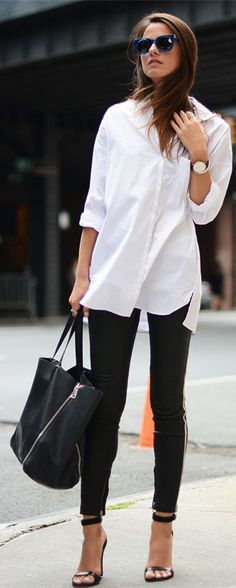white shirt, black pants