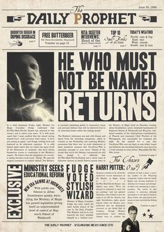 Daily Prophet: He Who Must Not Be Named returns (Full Article)