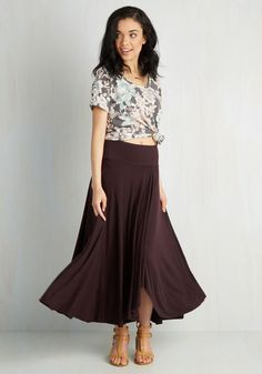 Travel Writing Workshop Skirt in Plum - Purple, Solid, Casual, Minimal, A-line, Summer, Jersey, Knit, Mid-Rise, Variation, Long, Valentine's, Work, Spring, Fall