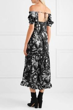 McQ Alexander McQueen - Off-the-shoulder Open-back Printed Satin-twill Midi Dress - Black