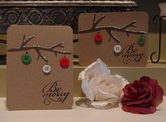 Here is a simple Christmas card. I cut out a branch from the Cricut cartridge, Give a Hoot. I drew on ornament hooks, and glued buttons on t. Homemade Christmas Cards, Merry Christmas Card, Noel Christmas, Christmas Greeting Cards, Christmas Greetings, Homemade Cards, Handmade Christmas, Holiday Cards, Christmas Ornaments
