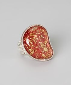 Take a look at this Silver & Red Speckled Stretch Ring by Treska on #zulily today!