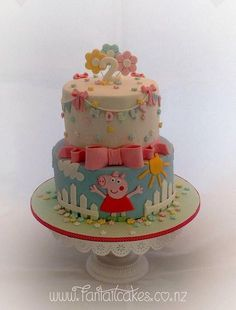 peppa pig cake Tortas Peppa Pig, Peppa Pig Cakes, Peppa Pig Birthday Cake, 3rd Birthday, Birthday Ideas, Pig Party, Girl Cakes, Celebration Cakes, Themed Cakes