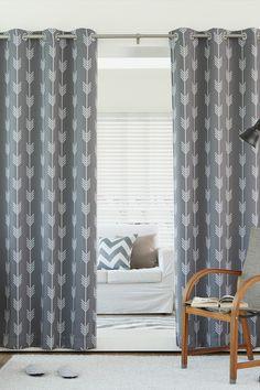Arrow Printed Room Darkening Grommet Top Curtains - Set of 2 Panels - Grey by Best Home Fashion Inc. on @HauteLook