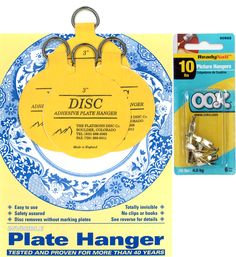 Four 3-inch Plate Hangers and Six OOK ReadyNail 10lbs. Picture Hooks  sc 1 st  Pinterest & Ten 3-inch Disc Plate Hangers | Plate hangers China porcelain and ...