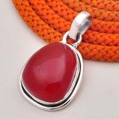 """DESIGNER 925 STERLING SILVER RED ONYX PENDANT 6.90g DJP6635 L-1.30"""" #Handmade #Pendant"""