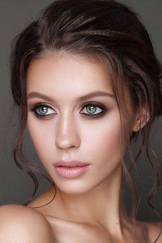 36 Ideas For Natural Bridal Makeup ❤ natural bridal makeup dark eyeshadows and nude lips vizagistvaleria #weddingforward #wedding #bride #naturalbridalmakeup #weddingmakeup