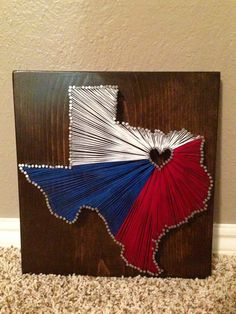 Items similar to Texas State, Texas Flag, String Art, Nail Art, State, Hometown on Etsy