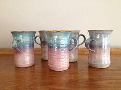 Vintage Raku Pottery Mugs Pink and Turquoise by vintage19something