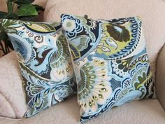CUTE!     green couch with blue  | ... Blue Olive Chartreuse Green Brown Set of Two - 16 x 16 Paisley Giverny