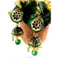 Kundan jhumki with With Green Meenakari Work