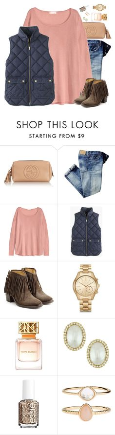 """And All was in Perfect Anxiety"" by southernstylish ❤ liked on Polyvore featuring Gucci, H&M, J.Crew, Fiorentini + Baker, Michael Kors, Tory Burch, Kenneth Jay Lane, Essie and Accessorize"