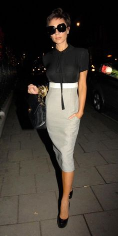 Victoria Beckham in her own dress called the Frejus, from her 2009 Spring/Summer Collection, 2011