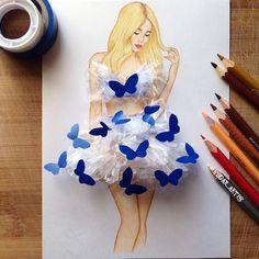 Armenian Fashion Illustrator Creates Stunning Dresses From Everyday Objects - abiti moda - Fashion Design Drawings, Fashion Sketches, Fashion Illustrations, Drawing Fashion, Art Illustrations, Arte Fashion, Floral Fashion, Dress Fashion, Fashion Fashion