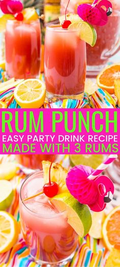 Rum Punch combines orange, pineapple, lime, and lemon juice with ginger ale and three different kinds of rum for a delicious large batch Caribbean inspired cocktail for summer parties! Mezcal Cocktails, Cocktail Drinks, Cocktail Recipes, Ginger Ale Cocktail, Rum Punch Cocktail, Party Drinks Alcohol, Party Food And Drinks, Fun Drinks, Alcoholic Drinks