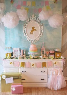 Rainbow and unicorn birthday party! See more party ideas at CatchMyParty.com!