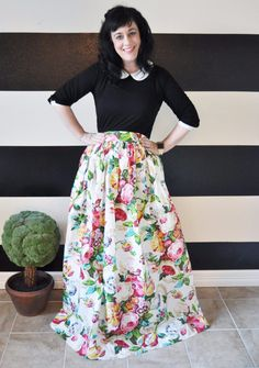 Your Own Custom Made English Garden Floral Skirt - Above Knee Length, Midi, Maxi