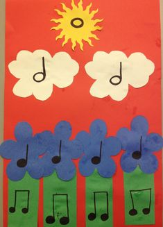 """n growing a garden and see how many ideas will bloom! This project can accompany any song about gardening (such as Music """"How Does Your Garden Grow"""") and can make perfect decorations for your upcoming spring concert or bulletin board! Music Lessons For Kids, Music Lesson Plans, Music For Kids, Preschool Music, Music Activities, Music Games, 2nd Grade Music, Music Notes Decorations, Music Worksheets"""