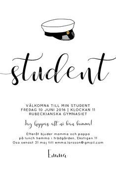 Studentkort Kalligrafi Inbjudningskort till studentfirande från Anna Göran Design